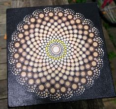 Hand painted dotted mandala 6x6 canvas
