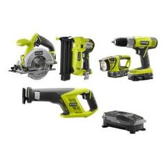 Ryobi, ONE+ 18-Volt Lithium-Ion Cordless Combo Kit with Brad Nailer (5-Tool), P1882 at The Home Depot - Mobile