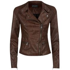 Chocolate Brown Leather-Look Zip Pocket Biker Jacket and other apparel, accessories and trends. Browse and shop 42 related looks.