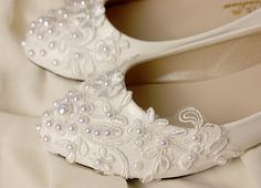 Wedding Shoes Lace and Crystal Bridal Shoes Ballet by Cocoangelly