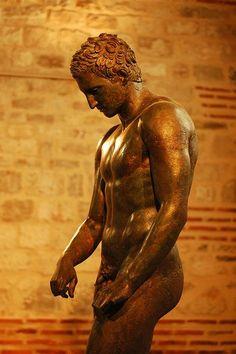 The fantastic ancient Greek sculpture of Apoxiomen ( Croatian Apoxiomenos ) , IV B.C. , from Mali Losinj, Croatia