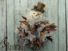 Snowman Wreath Snowball Mesh Tutorial - Trendy Tree Blog