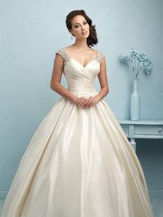 Taffeta Wedding Dresses Allure Couture - Allure - Nearly Newlywed Bridal Boutique - 2 - Wedding Dress Silk, Wedding Dress Tea Length, 2015 Wedding Dresses, Sweetheart Wedding Dress, Bridal Dresses, Wedding Gowns, Lace Wedding, Dresses 2016, Dress Lace
