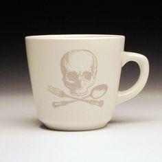 skull+and+cross+utensils+teacup+in+GHOSTIE+GREY+by+foldedpigs,+$18.00