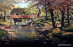 A couple of kids cross the creek by wading rather than take the old covered bridge. It looks as if they have a day of fishing planned.
