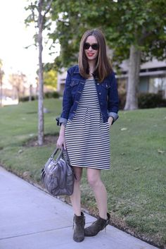 dress, jean jacket, booties