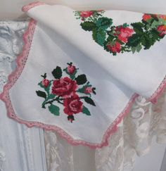 Gorgeous Runner, Wreath and Roses, Cross Stitch, Embroidered, French Linens, Cottage Charm  The prettiest combination...wreath covered with