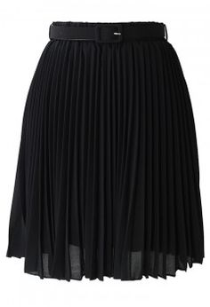 Black Pleated Chiffon Midi Skirt with Belt - Retro, Indie and Unique Fashion