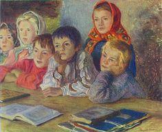 Children in the Classroom Nikolai Petrovich Bogdanov-Belsky - 1918 Russian Painting, Russian Art, Figure Painting, Painting Art, Professor, Fine Arts School, Great Works Of Art, Vintage School, Art Database