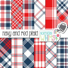 Navy and Red Digital Paper  Plaid patterns by NorthernWhimsyDesign