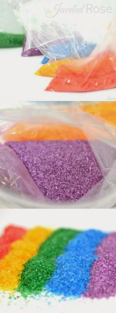 Make your own colored sand- so easy and so much cheaper than the store bought stuff! 5/26 - I am going to try this!!!