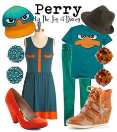 Outfits inspired by Perry the Platypus from Phineas and Ferb!