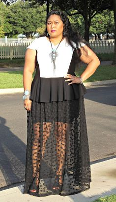 Plus size fashion blogger Kiah of fromthereztothecity.blogspot.com wearing Asos Curve peplum colorblock top and sheer dotted skirt.