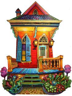 The home of Terrance Osborne art. The best place to find New Orleans art. Dream House Drawing, Illustrations, Illustration Art, Louisiana Art, New Orleans Art, Of Wallpaper, Whimsical Art, Flat Design, Love Art