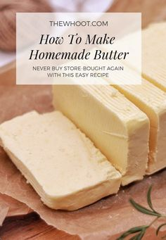 Homemade Butter Recipe Using One Ingredient Only - Essen und Trinken Easy Homemade Butter Recipe, Recipe For Homemade Butter, Homemade Food, Real Homemade, Easy Homemade Recipes, Flavored Butter, Food Stands, Diy Food, Desert Recipes