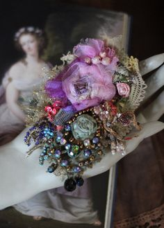 Baroque  brooch- bold mixed media brooch, embroidered, beaded, old laces