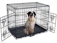 24'' 2 Doors Wire Folding Pet Crate Dog Cat Cage Suitcase Kennel Playpen w/ Tray - Each Door Is Equipped With Secure And Simple Slide Bolt Latches - Tough Slide-Out ABS Tray For Easy Cleaning ** Visit the image link more details. (This is an affiliate link and I receive a commission for the sales) #Dogs