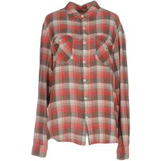 Denim & Supply Ralph Lauren Shirt (1,655 HNL) ❤ liked on Polyvore featuring tops, red, logo shirts, red plaid shirt, long-sleeve shirt, brown shirts and brown flannel shirt