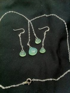 Sterling silver chain and ear hooks, pale green, minty chalcedony stones. $60