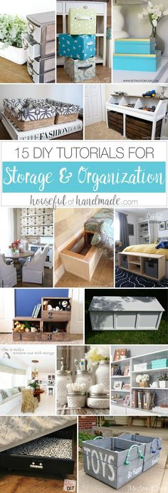 Get organized this year and save lots of money with these 15 DIY storage and organization tutorials. Everything from bins to boxes, furniture with loads of storage and places for all those toys! | http://Housefulofhandmade.com