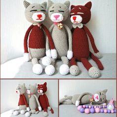 Amineko the Cats Crochet Cats, Sleepy Cat, Crochet Pattern, Teddy Bear, Couture, Instagram, Feltro, Templates, Amigurumi