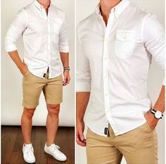 Classic Summer Style ☀️ You can't ever go wrong with a crisp and clean combo like this with tan shorts, a white oxford shirt, and classic kicks❗️It will work for almost any summer occasion. I think my good friend would definitely agree. Classy Summer Outfits, Casual Outfits, Outfit Summer, Summer Shoes, Weekend Outfit, Dress Casual, Stylish Men, Men Casual, Casual Shirt