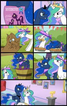 Celestia and Luna compete in Sisterhoof Social~! My Little Pony comic :) Source: http://tan575.deviantart.com/#/d5afczz: