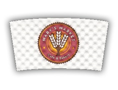 Mary's Market Cafe and Bakery custom printed Java Jacket™ coffee sleeve.
