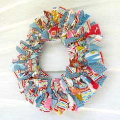 Carnival fabric rag wreath.