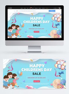 Blue paper cut children's day promotion web banner happy childrens day,children,happy,celebrate,discount,child,colourful,cartoon,web banner,balloon#Lovepik#template