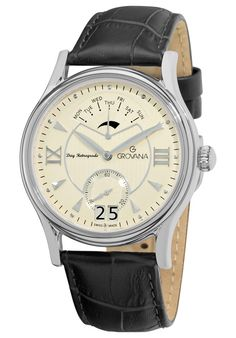Price:$466.39 #watches Grovana 1715.1532, Grovana is a firm that has made a name for itself in the Swiss watch making industry through innovation and flexibility. Up to the 1970s it made mechanical watches that were always state of the art. Mechanical Watch, Black Leather, Swiss Watch, Wrist Watches, Flexibility, 1970s, Innovation, Silver, Clock