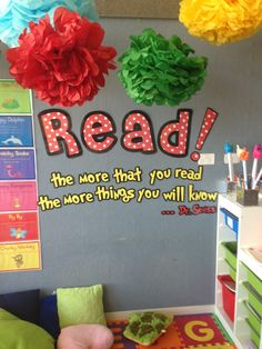 Dr Seuss Classroom Ideas | Dr Seuss themed reading corner