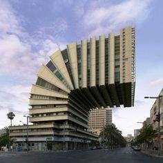 Unnatürlich schön sind die Fotomontagen von Victor Enrich. Ob das Orchid Hotel in Tel Aviv mit seinen Medusen artigen Balkonen, oder der Shalom Tower, den er wie einen Reißverschluss aussehen lässt...