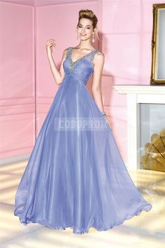 Sleeveles A-line Zipper Chiffon Long Empire V-neck Prom Dress