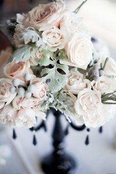 Black & White Inspired Wedding Decor - with just a touch of blush!  Flowers from thefloraldepartment.com,  Photography by loveala.com