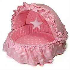 $63.95 w/FREE SHIPPING - This SOFT BED PET BASSINET has a removable canopy and is made of cotton. Available at Sugar Chic Couture in PINK or BLUE and measures 22 x 18 x 13