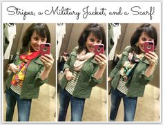 Pinterest Told Me To: Military Jacket 101 Military Green, Military Jacket, Khaki Jacket, Light Jacket, More Cute, Fall Looks, Green Cotton, Striped Tee, Everyday Outfits