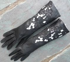 unworn Vintage Black Leather Dress Gloves, Long, with Cut Work Flowers, from AngelGrace on Etsy