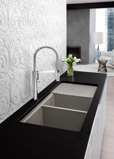 Modern Kitchen Designs: BLANCO Truffle Faucet and Sink - Kitchen Designs by Ken Kelly Long Island Kitchen and Bath Showroom - New York Designers Contemporary Kitchen Faucets, Modern Kitchen Sinks, Kitchen And Bath Design, Stylish Kitchen, Modern Kitchen Design, Cool Kitchens, Kitchen Designs, Kitchen Tile, Modern Kitchen Faucets
