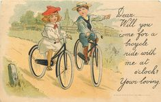 vignette of two children cycling right
