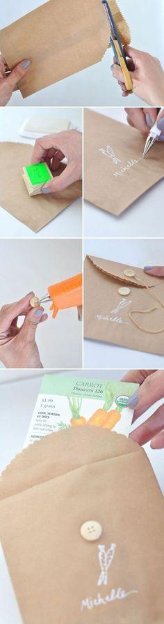 comment personnaliser une pochette kraft, un emballage cadeau facile à réaliser