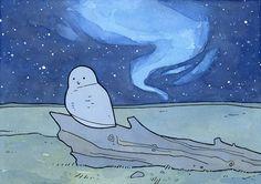 Snowy Owl Aurora Borealis illustration print