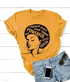 Buy Afro Lady Shirt Women Feminist Tee Girl Power Tshirt Summer Fashion Short Sleeve T-shirt Inspiring Words Letters Printing Cotton Top Lady Casual Graphic T-shirts at Wish - Shopping Made Fun Afro, Casual Tops, Casual Shirts, Tee Shirts, Girl Power T Shirt, Fashion Words, Women's Fashion, Short Women Fashion, T Shirt World