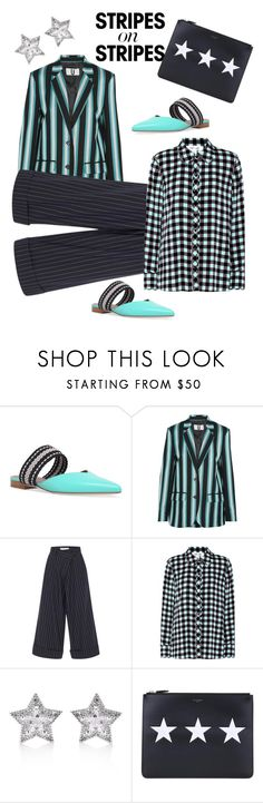 """""""Stripes and Stars"""" by naomi-mann ❤ liked on Polyvore featuring Malone Souliers, Topshop Unique, Monse, Diane Von Furstenberg, CZ by Kenneth Jay Lane, Givenchy, stripesonstripes and PatternChallenge"""