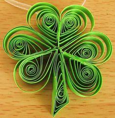 St. Patricks Day Shamrocks Tree Window Decoration Quilling Ornament Set of 6 Quilled Shamrocks with Ribbon. $13.50, via Etsy.