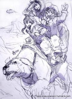 Korra+Mako+Bolin+Naga=B.F.F.E. Wait a second if you look closely Appa is on the sky !