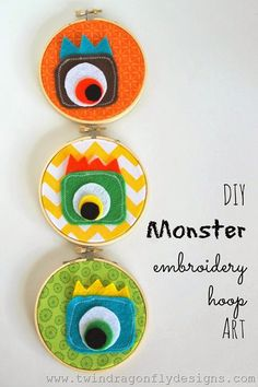 Monster Embroidery Hoop Art - how to make this super cute project craft!