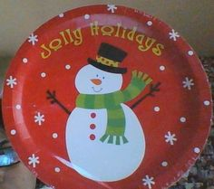 """NEW SEALED PACKAGE OF 18 CHRISTMAS PLATES """"JOLLY HOLIDAYS"""" ADORABLE SNOWMAN"""