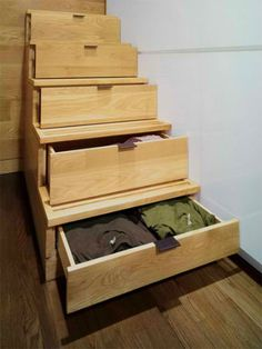 tiny loft studio design 4 Tiny Yet Very Cosy Studio Apartment Design Stair Drawers, Stair Storage, Storage Drawers, Storage Spaces, Staircase Storage, Hidden Storage, Loft Stairs, Extra Storage, House Stairs