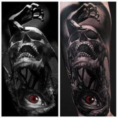 Tattoo red eye Skull Hand  - http://tattootodesign.com/tattoo-red-eye-skull-hand/  |  #Tattoo, #Tattooed, #Tattoos